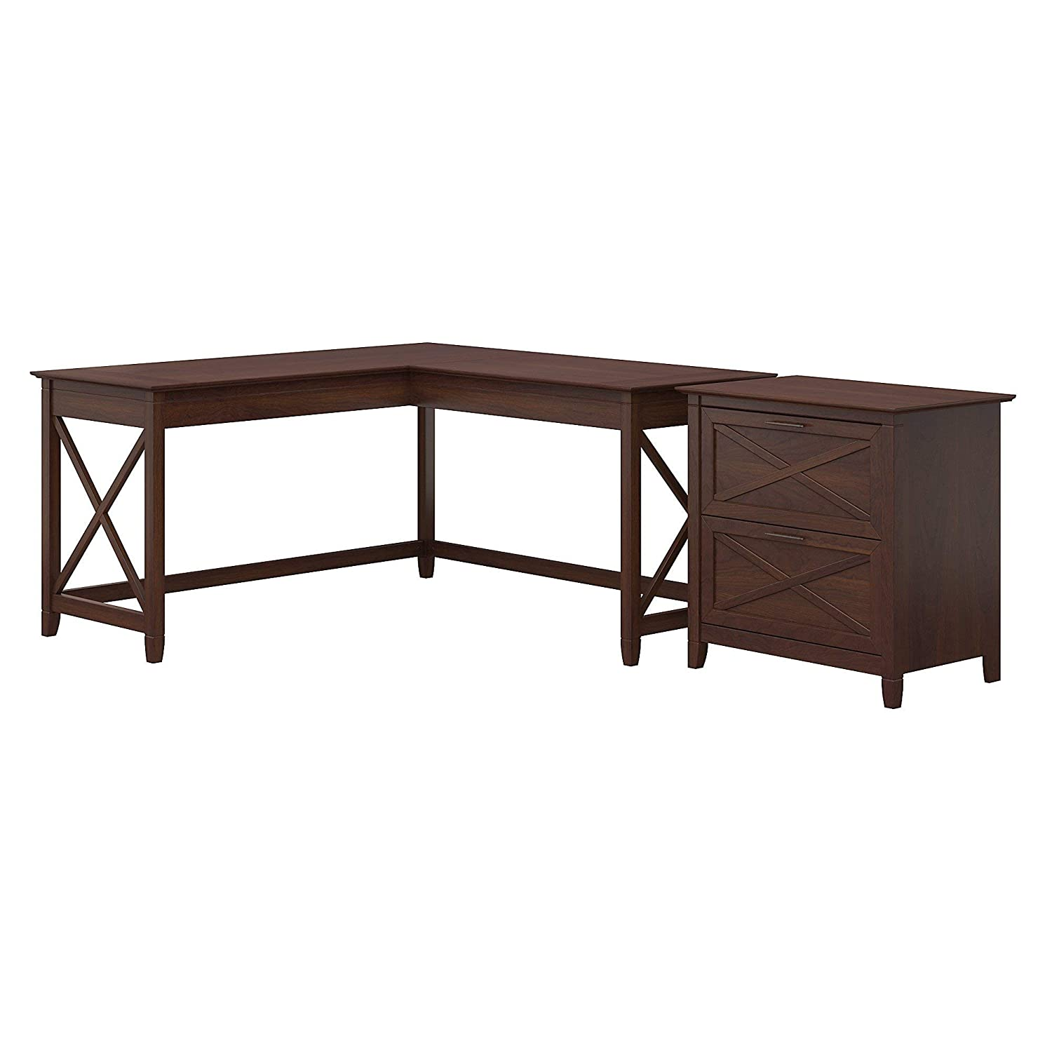 Bush Furniture Key West 60W L Shaped Desk with 2 Drawer Lateral File Cabinet, Bing Cherry