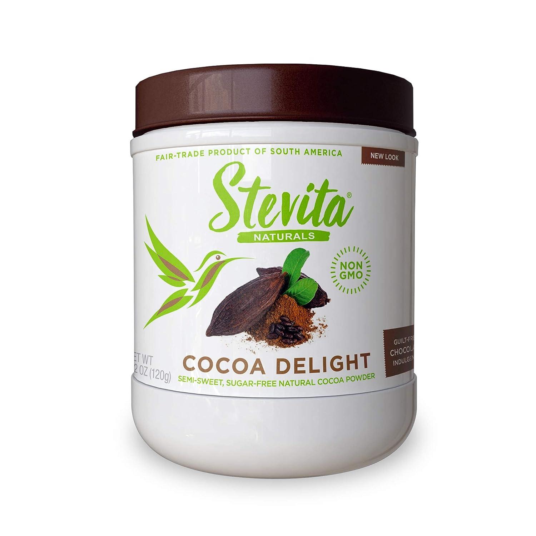 Stevita Cocoa Delight - 4.2 oz - Natural Cocoa Powder with Stevia - For Hot Cocoa, Smoothies, Desserts & Recipes - Non-GMO, Vegan, Keto, Paleo, Gluten Free - 30 Servings