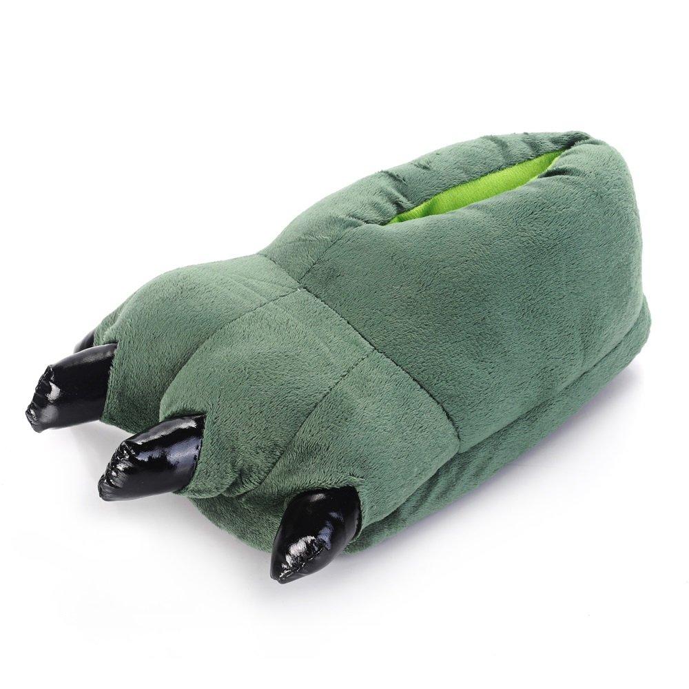 Pattini caldi dell'animale di inverno del fumetto della zampa con il panno superiore di alta qualità e il outsole antisdrucciolevole, Green