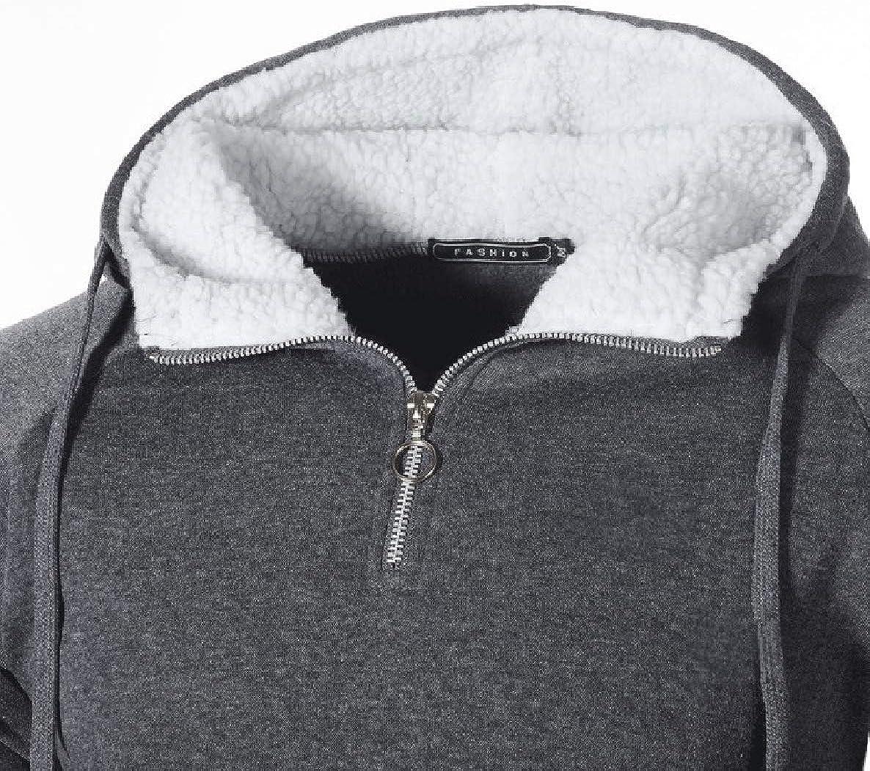 willwinMen WillingStart Mens Long-Sleeved Pocket Hooded Zipper Thicken Sweatshirt