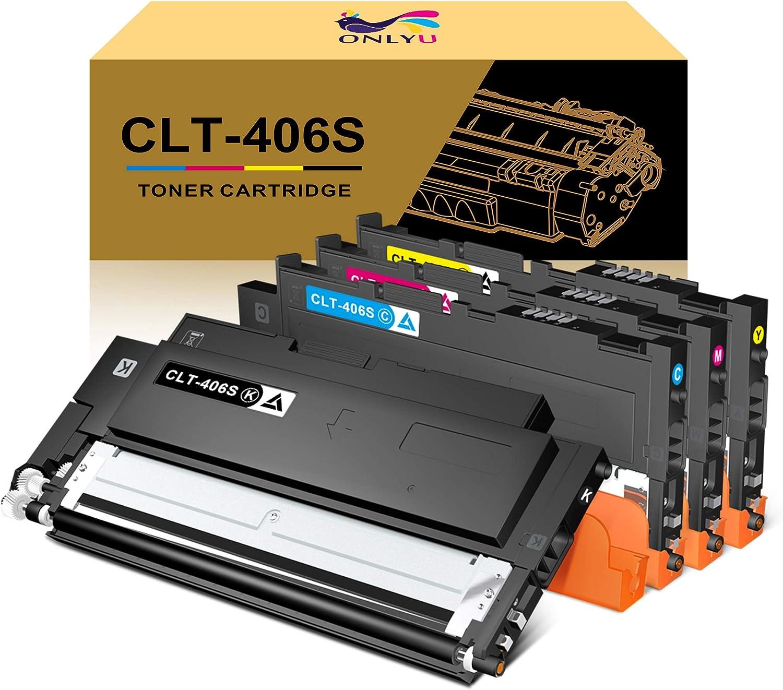 ONLYU Compatible Toner Cartridge Replacement for Samsung CLT-406S CLT-K406S CLT-C406S CLT-M406S CLT-Y406S for Samsung Xpress C460FW C460W C410W (1Black,1Cyan,1Magenta,1Yellow)