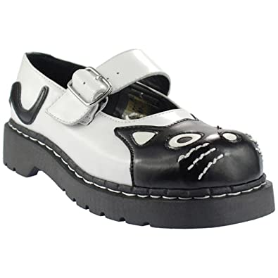 TUK T2006 WOMEN GIRL SHOES LEATHER Anarchic by T.U.K. White and Black Kitty Mary  Jane (