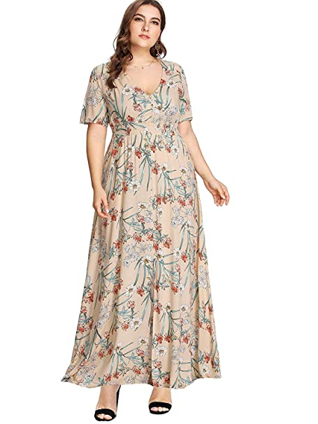 Milumia Women Plus Size Floral Party Homecoming Button up Split Flowy Maxi  Dress