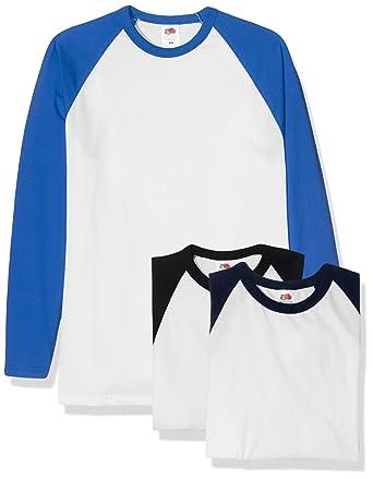 ae5ec764 Fruit of the Loom Men's Baseball Classic Long Sleeve T-Shirt (Pack of 3:  Amazon.co.uk: Clothing