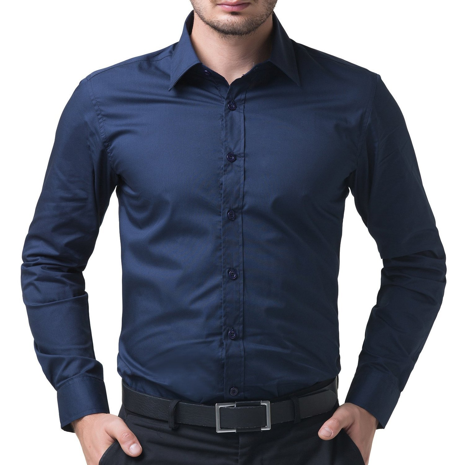 cadf73ed6f848 BEING FAB Men's Solid 100% Cotton Regular Fit Casual Navy Blue Shirt