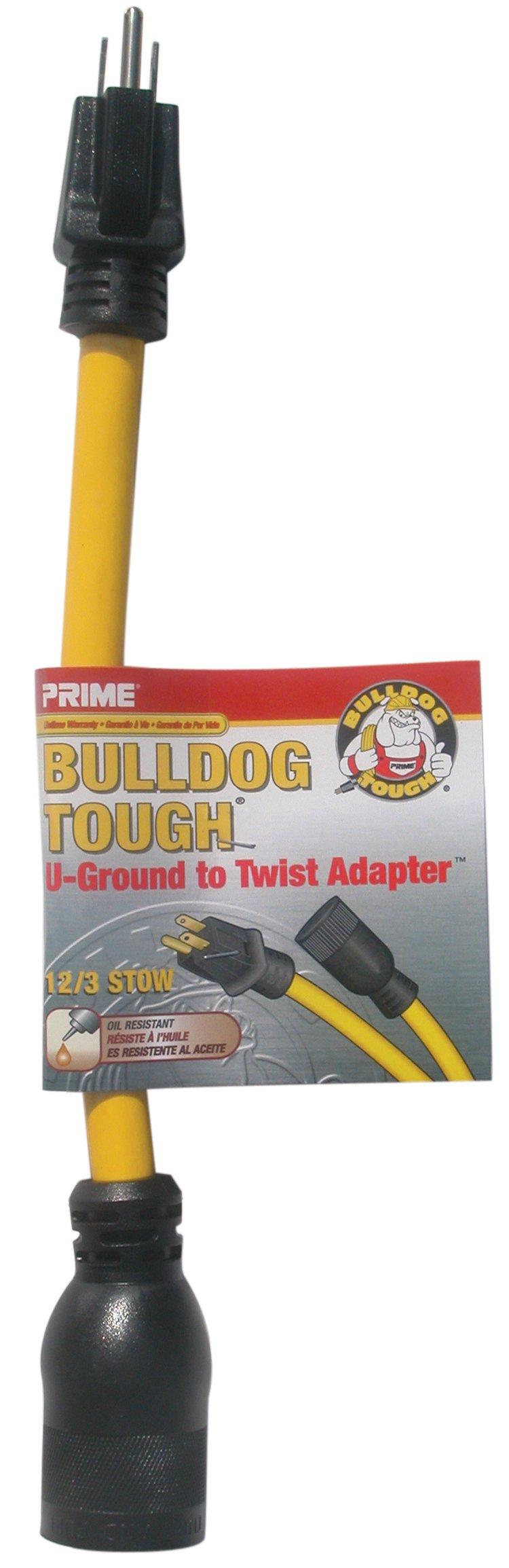 PrimeAD110801L 1-Feet 12/3 STOW U-Ground to Twist Adapter, Yellow
