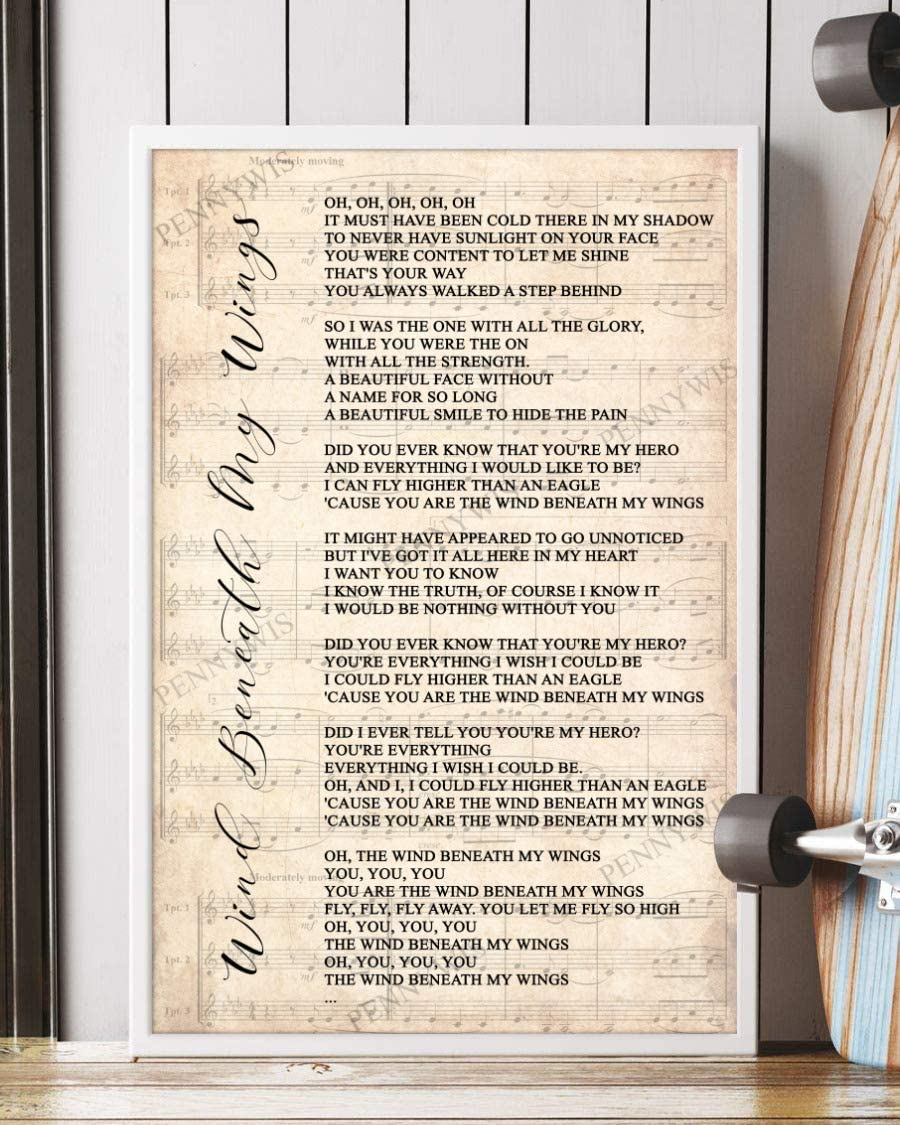 PENNYWIS Decor Gift - Wind Beneath My Wings Song Lyrics Sheet Music Portrait Poster Wall Art Print (11