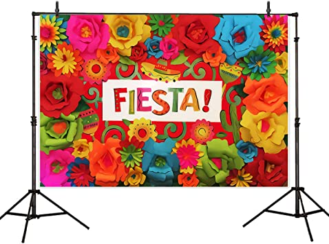 Leowefowa Cinco De Mayo Backdrop 10x10ft Sombrero Red Pepper Colorful Buntings Spots Vinyl Photography Background Fiesta Holiday Party Child Adult Photo Shoot Wallpaper Studio Photo Booth