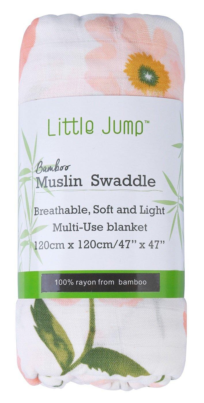 Floral Little Jump Baby Musselin Swaddle Decke T/ücher- 120x120 cm Floral Design Baby Bambus Baumwolle Swaddle Wrap Aufsto/ßen Tuch /& Deck Kinderwagen Puckt/ücher M/ädchen