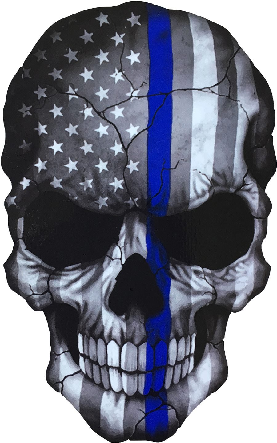 Sticker Skull American Flag Subdued Thin Blue Line USA Military Support Decal Size 6.5 x 4.25 inch ton