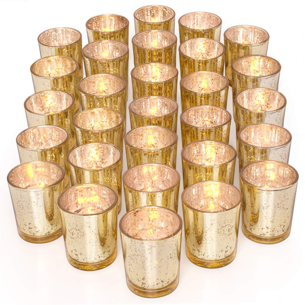 Letine Gold Votive Candle Holders Set of 36 - Speckled Mercury Gold Glass Candle Holder Bulk - Ideal for Wedding Centerpieces & Home Decor by Letine