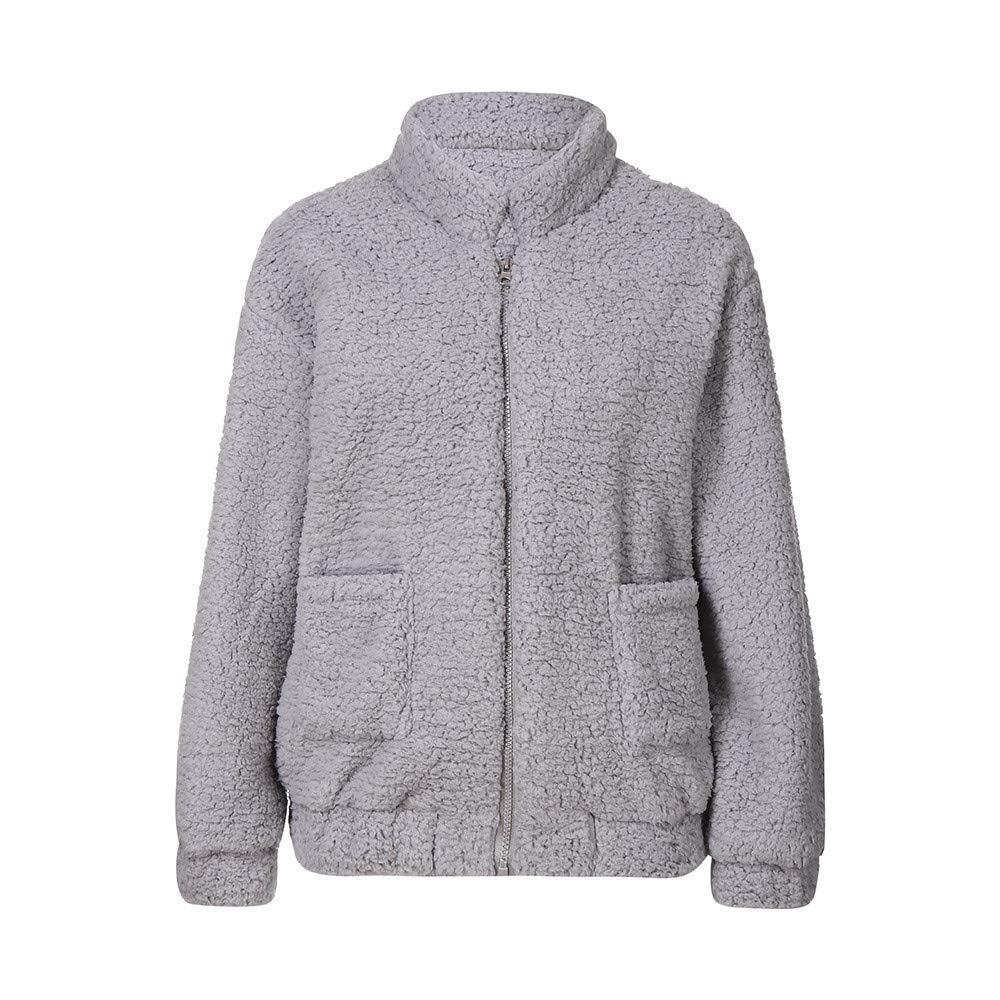 HHei_K Womens Winter Warm Lounge Plain Fluffy Long Sleeve Stand Collar Zipper Up Loose Fleece Fur Pockets Coat Outwear