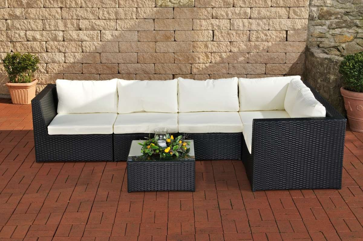 CLP Gartengarnitur BOLOGNA aus Polyrattan & Aluminium, inkl. Polstern & Kissen ( aus bis zu 4 Rattan-Farben wählen) schwarz