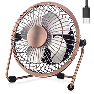 Esup 4 inch Small Fan Desktop USB Fan, Fan Quiet, USB Powered, Personal Table Fan, Mini Desk Fan - Black (Bronze)