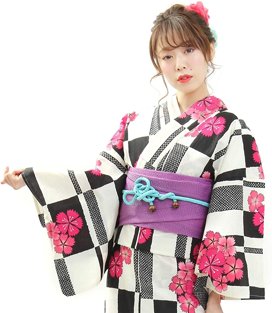 Kimono Ohkini japonés para Mujer Kimono – Yukata Negro Cinturón OBI Set de 2 - Azul - Talla Unica: Amazon.es: Ropa y accesorios