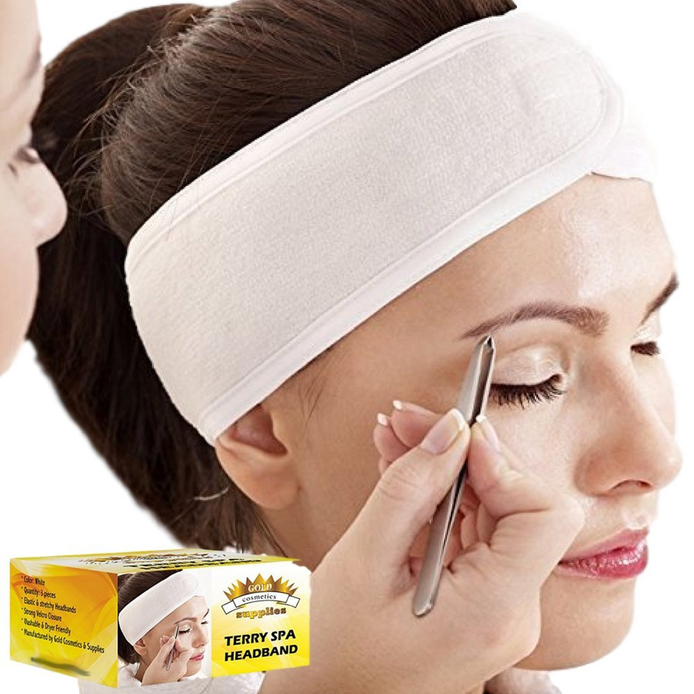 (3 Count) White Elastic Terry Cloth Spa Headband - Single Scotch Closure Stretch Towel Washable Facial Band Makeup Wrap Headbands Fits All Head Sizes (4 Inch Wide X 25 Inch Long, When Stretched) Gold Cosmetics & Supplies