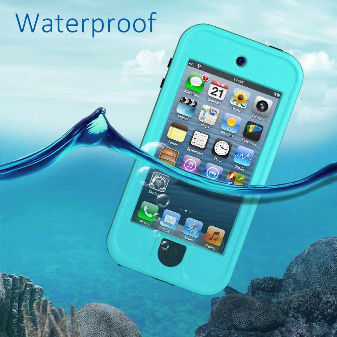 Waterproof Case for iPod 5 iPod 6, Meritcase Waterproof Shockproof Dirtproof Snowproof Case Cover with Kickstand for Apple iPod Touch 5th/6th Generation for Swimming Diving Surfing Snorkeling (Blue) by meritcase (Image #2)