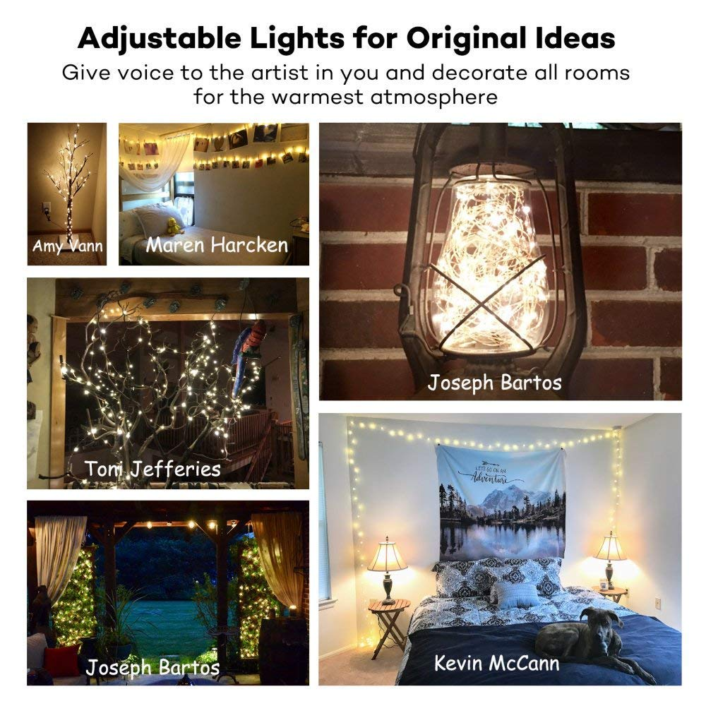 Parties Waterproof Decorative Lights for Bedroom Warm White Gate Wedding Patio Yard TaoTronics TT-SL036 33ft 100 LED String Lights Dimmable with Remote Control Garden UL588 and TUVus Approved