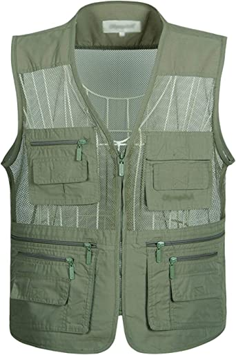 Men/'s Multi Pocket Outdoor Travel Fishing Work Photography Hunting Mesh Zip Vest