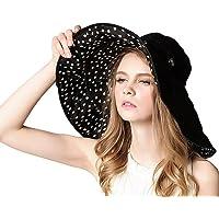 Las mujeres señoras sombrilla playa sombrero ancho grande