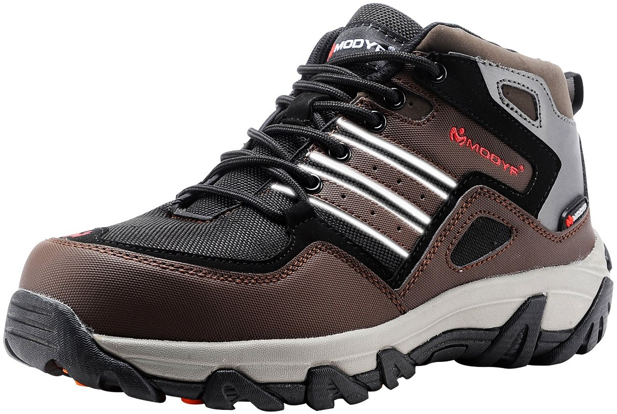 MODYF Men's Steel Toe Work Safety Shoes Outdoor Hiking Boots (11.5)