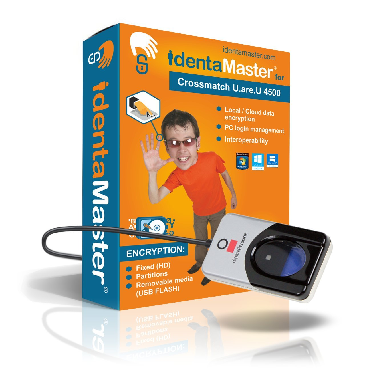 IdentaMaster Biometric Security Software with Crossmatch Digital Persona 4500 Fingerprint Reader/Encryption, PC Login for Windows 7/8/10