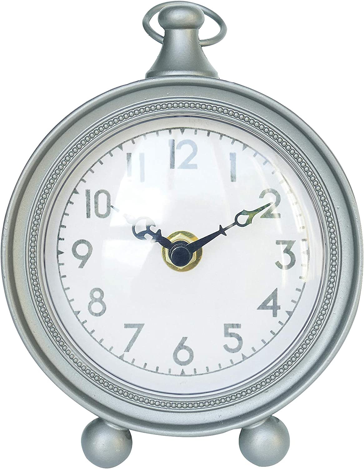 NIKKY HOME Vintage Pewter Round Table Clock with Handle - Silver - 4.7 x 5.9 x 2.16 inch