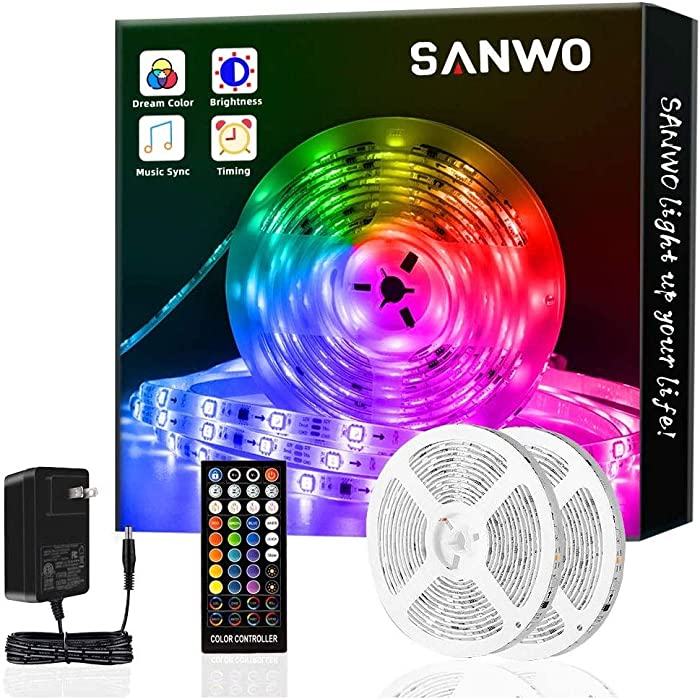 Sanwo Led Strip Lights with Remote, 32.8ft Dream Color LED Light Built-in IC, RGB SMD5050 Flexible Strip Lighting Music Sync, Color Changing Led Strip Chasing Effect for Home Kitchen