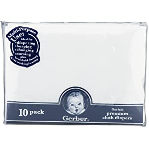 Image: Gerber Flatfold Gauze Cloth Diapers | Made from heavy, tightly twisted yarns | an exceptionally durable diaper | 100% cotton gauze