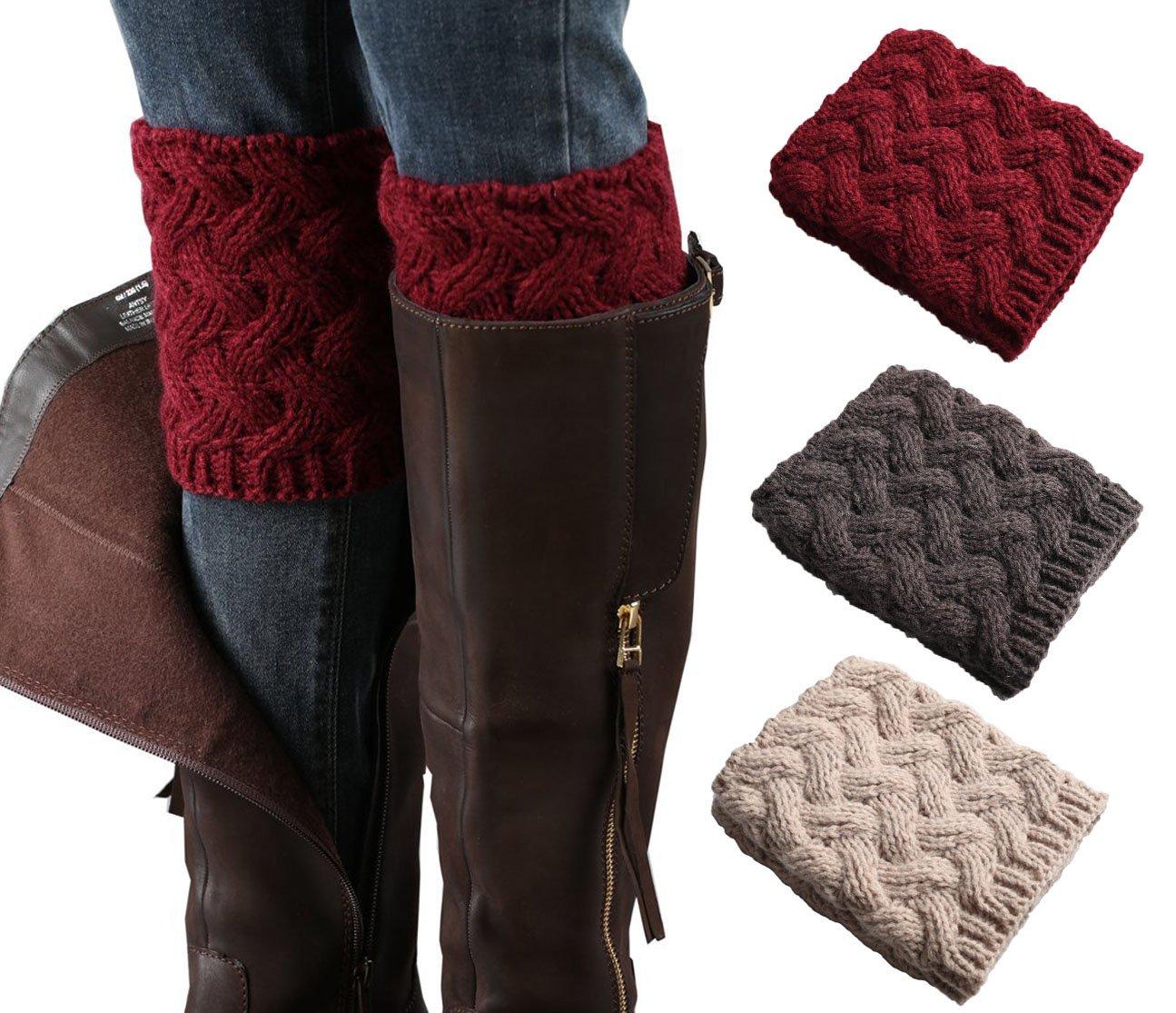 3 Pairs Women Short Boots Socks Crochet Knitted Boot Cuffs Short Leg Warmer (winered,darkgray,beige)