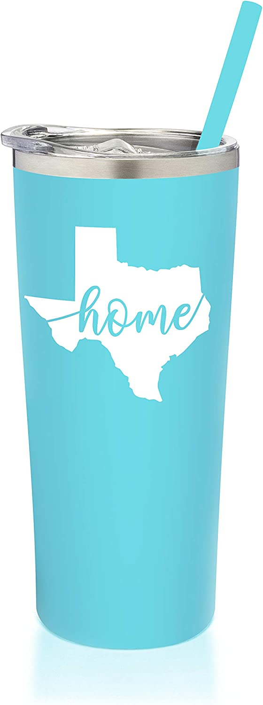 SassyCups Texas Mug | Vacuum Insulated Stainless Steel Texas Tumbler Cup | Texas Theme Graduation | Moving Away Travel Mug For Texans | Texas Coffee Cup | Texas Home Decor (22 Ounce, Aqua Blue)