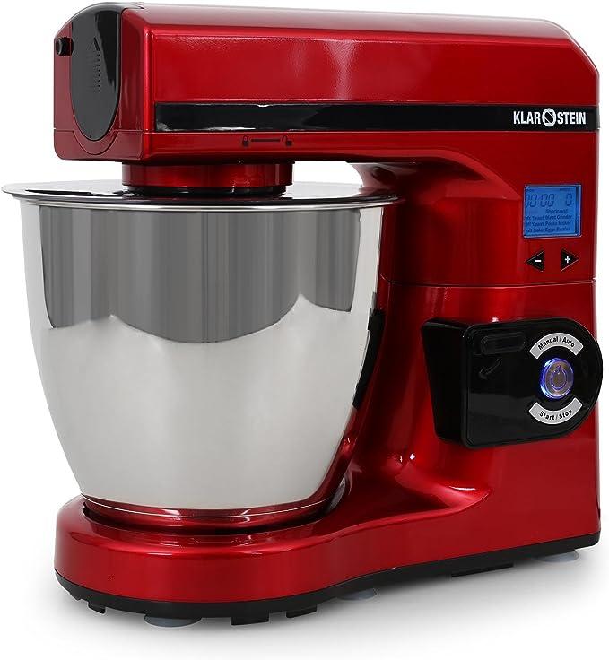 Klarstein Grande - Robot de cocina (1000 W, varillas de batir y mezclar y gancho para amasar, recipiente de acero inoxidable de 7 L, 7 velocidades), color rojo: Amazon.es: Hogar