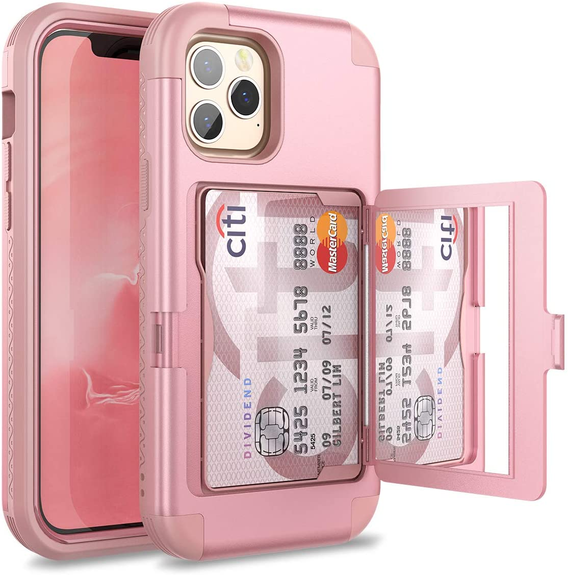WeLoveCase for iPhone 12 Pro Max Wallet Case with Credit Card Holder & Hidden Mirror, Three Layer Shockproof Heavy Duty Protection Cover Protective Case for iPhone 12 Pro Max - 6.7inch Rose Gold