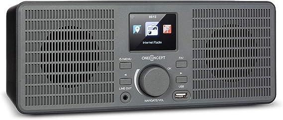 oneConcept TuneUp ST – Radio con Internet, WiFi, 10 W de Potencia, Control por aap con AirMusic, Salida de línea, Pantalla en Color de Alto contrasete (HCC) de 2,4 Pulgadas, Gris Oscuro: