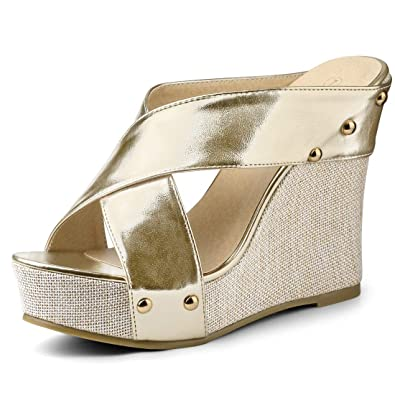 920534eb4c1 Allegra K Women s Open Toe Linen Platform Slide Wedge Gold Tone Sandals - 5  ...