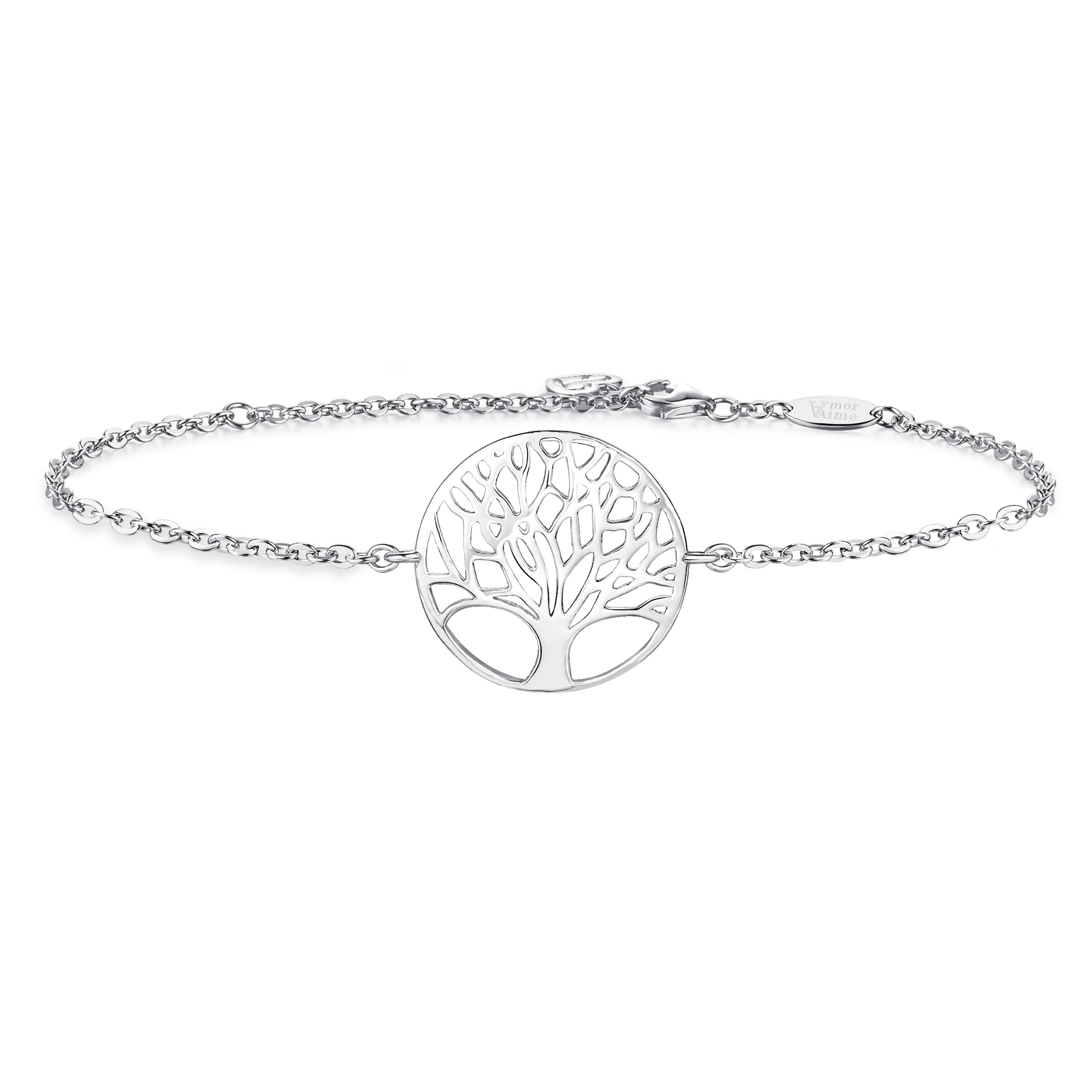 AmorAime Womens 925 Sterling Silver Family Tree of Life Love Symbol Charm Link Bracelet White Gold Plated Adjustable