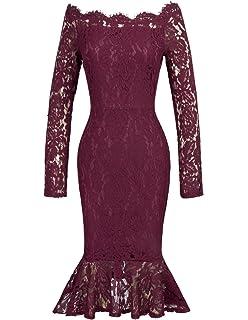 c38b217f7127 GRACE KARIN Damen Spitze Sommerkleid Off Schulter Kurzarm Abendkleid  Meerjungfrau Kleid CL470