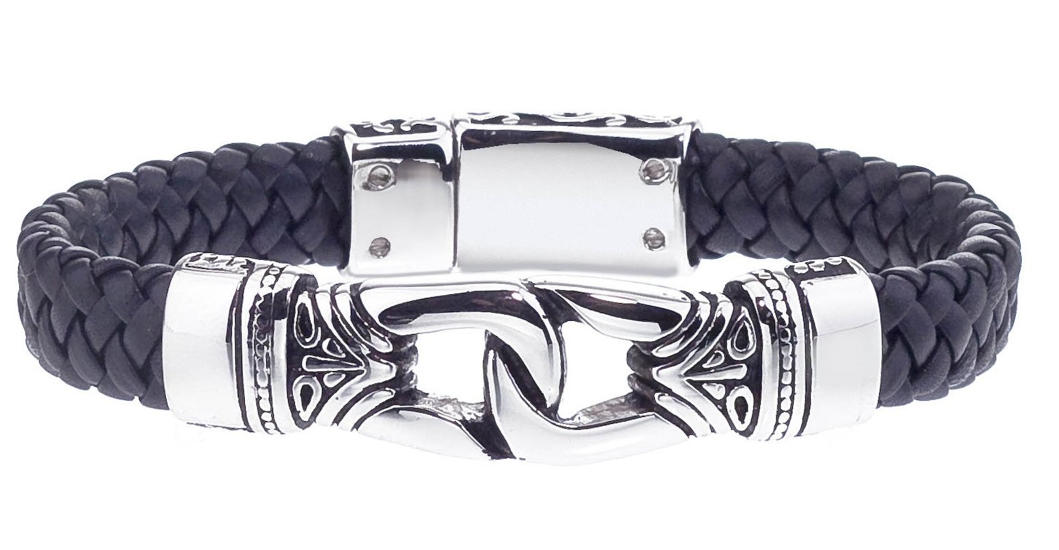Antique Braided Black Leather Men's Bracelet Stainless Steel by AX Jewelry (Image #2)