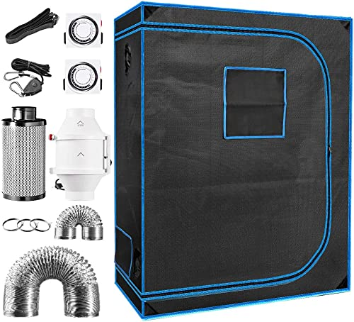 48 x 24 x 64 Indoor Plant Grow Tent Complete Kit, Hydroponics Tent System with 4 Inline Fan Carbon Filter Ducting Combos Timer Hangers