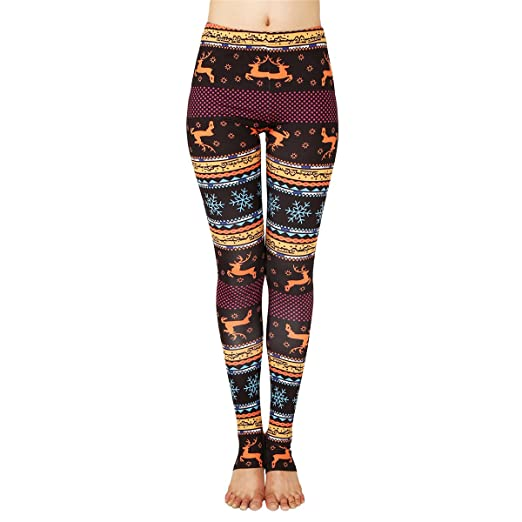 06b5e9b7bb777a Amazon.com: JUNVEVOOL Sexy Snowflake 3D Reindeer Leggings Women Fitness  Gothic Pencil Pants Push up Femme Retro Legging: Clothing