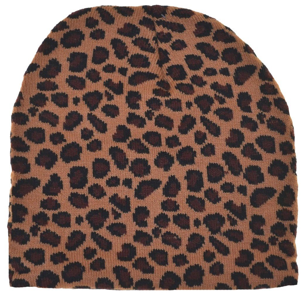 Wild Animal Print Leopard Cuffless Beanie Knit Hat