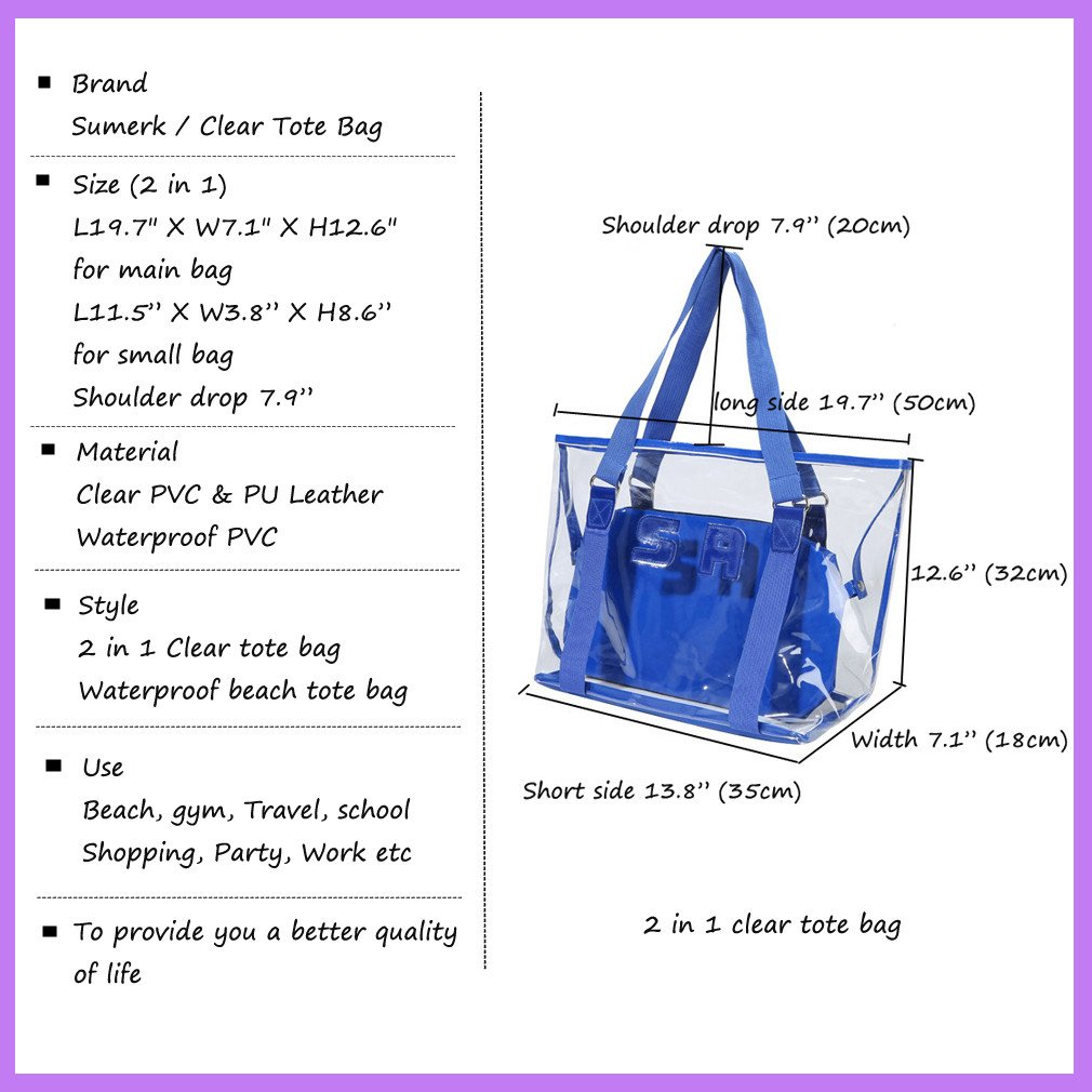Sumerk 2 in 1 Large Clear PVC beach bag, Waterproof Beach Shoulder Bag Tote Bags - Blue