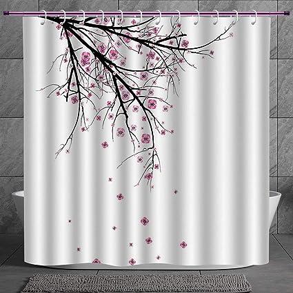 Stylish Shower Curtain 20 House DecorCherry Blossoming Falling Petals Flowers Springtime Park Simple