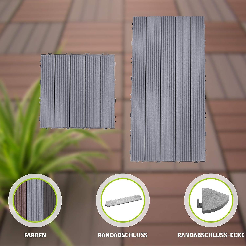 Rechteckig Braun HORI/® Terrassenfliesen WPC I Klick Bodenfliesen aus Kunststoff in Holzfliesen Optik I Modell
