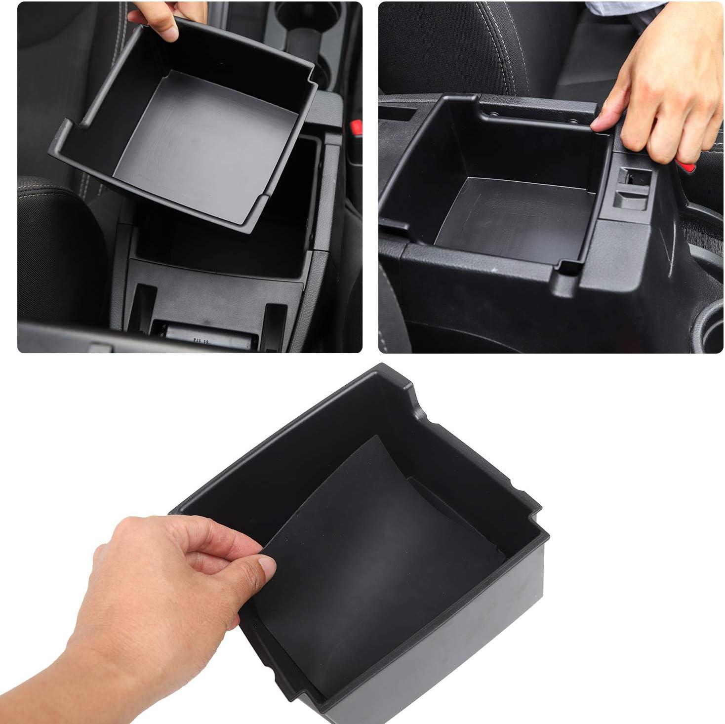 RT-TCZ for Jeep JK Center Console Insert Grab Tray Passenger Storage Tray Organizer Grab Handle Storage Box for 2011-2018 Jeep Wrangler JK JKU Black+