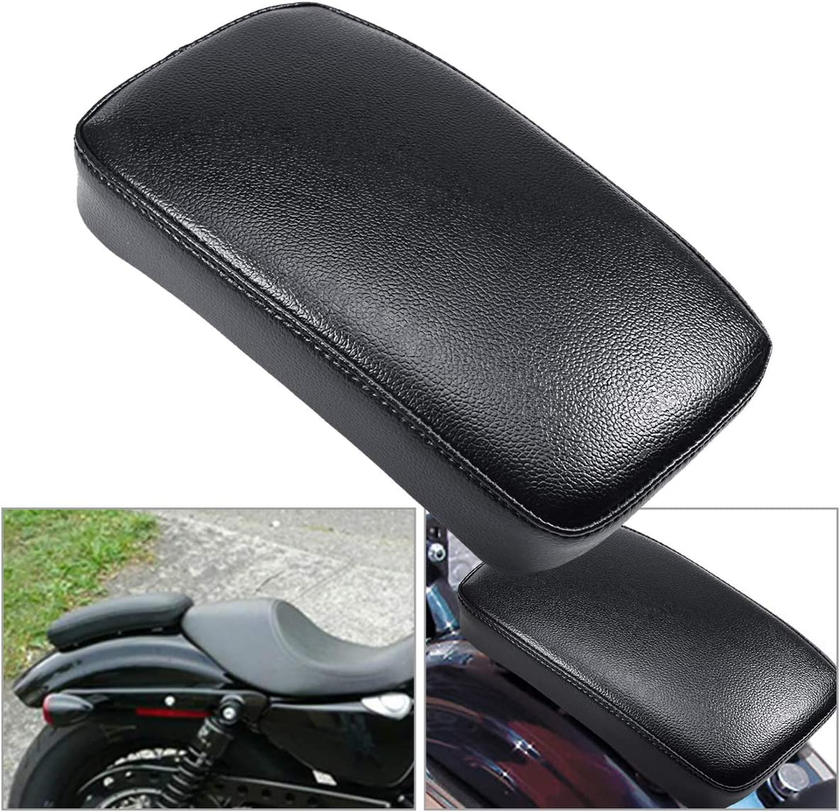 1xRectangle Rear Chusion Passenger Pad Seat 8 Suction Cup For Harley Motorcycle