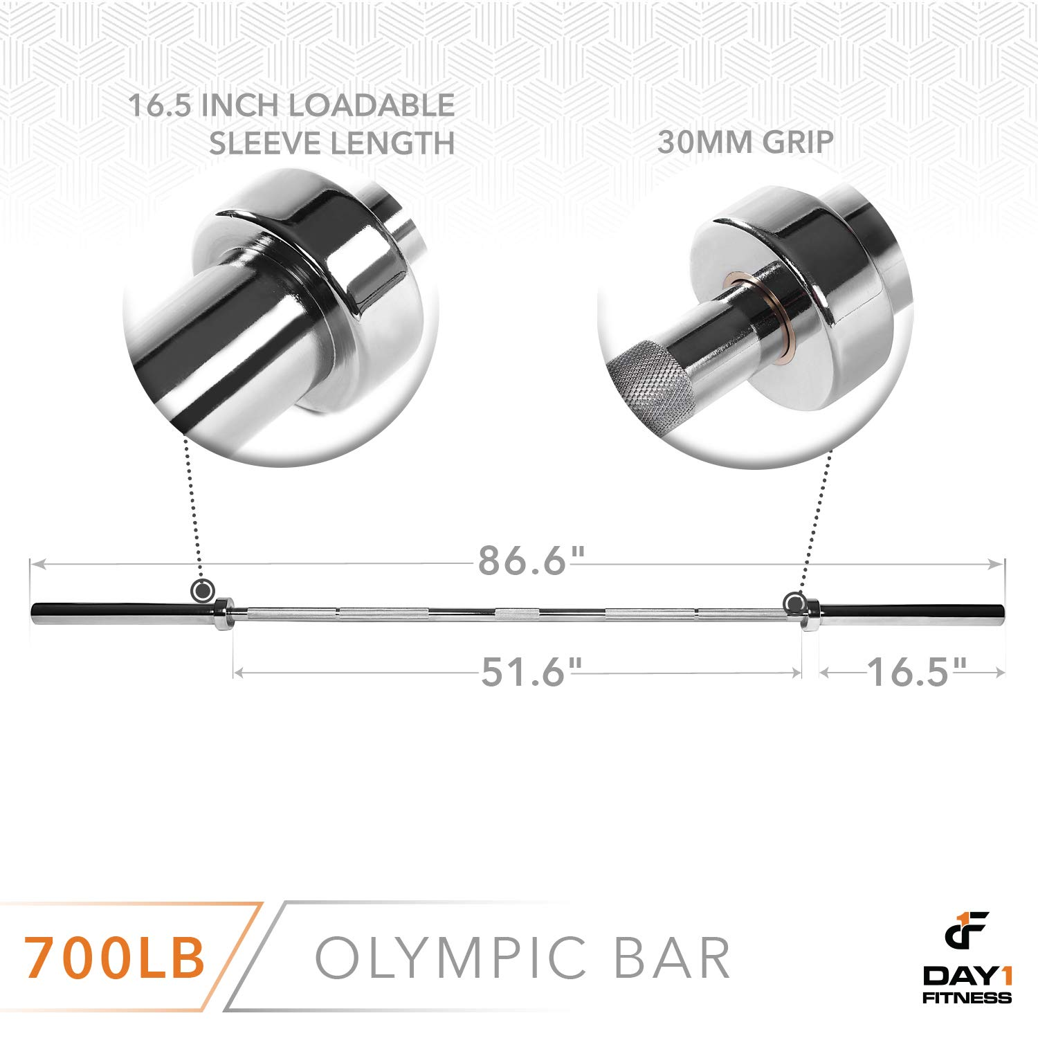 Olympic Barbell 2 , 700 OR 1200 POUND CAPACITY OPTION, 7 by D1F for Weightlifting, Bench Press, Bodybuilding, Powerlifting – Durable Crossfit Bar – Heavy-Duty Steel Bars and Barbells, Holds 2 Plates