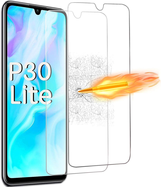 ONKING Cristal Templado Huawei P30 Lite Protector de Pantalla, HD Transparente Cristal Nano 9H más Fuerte antihuellas Vidrio Templado para P30 Lite[2 ...