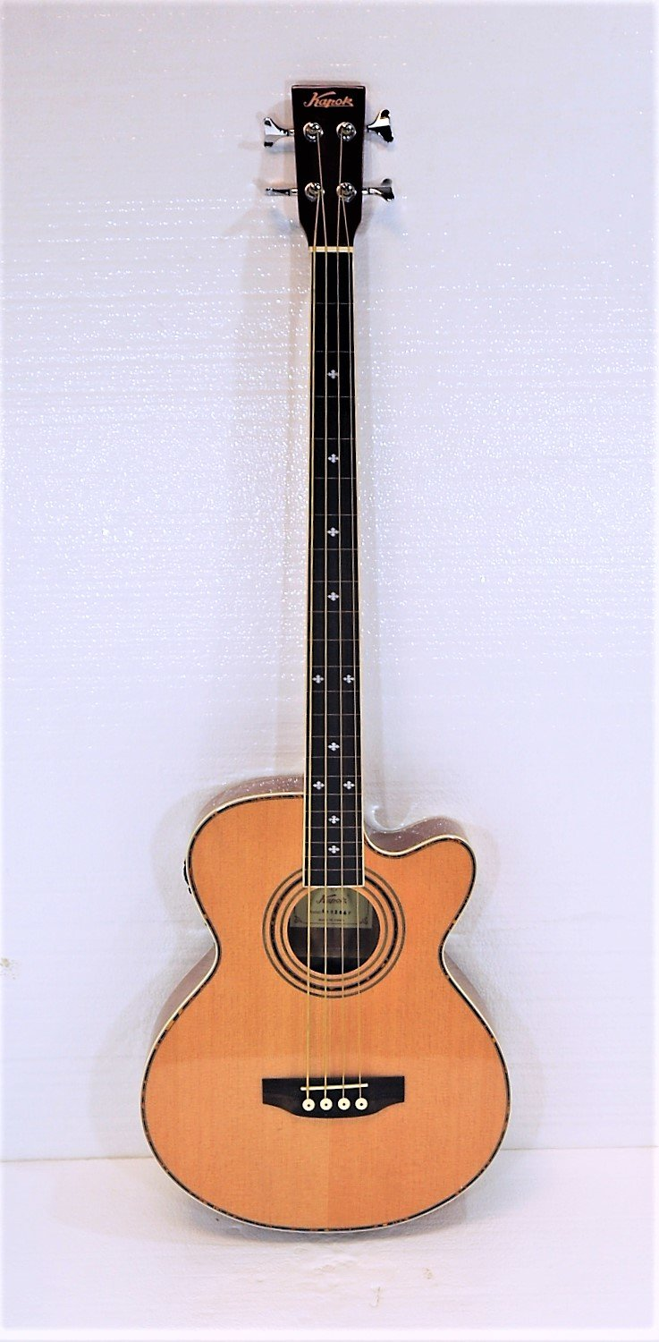 Fretless 4 String Cutaway Acoustic Electric Bass, Spruce Top Kapok KAB-164-N