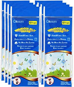 Garsum Fly Clear Window Fly Traps Bug Fly Killer Window Decal Non-Toxic,96 Pieces